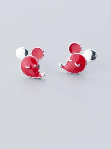 925 Sterling Silver Red Enamel Fox Cute Stud Earring