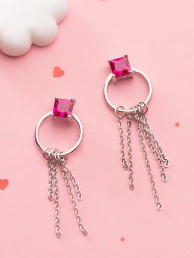 925 Sterling Silver Cubic Zirconia Square Tassel  Earring