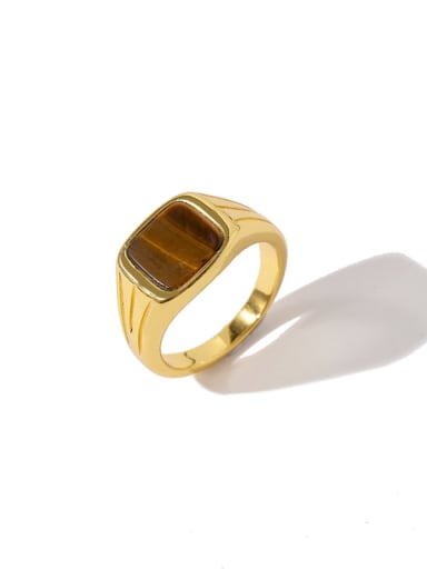 Golden brown Copper Square Minimalist Band Ring
