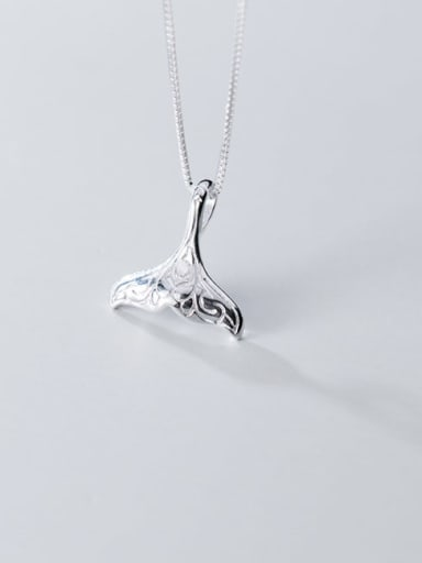 925 Sterling Silver Simple Cute Fish tail pendant Necklace