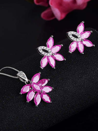 Copper pink (earrings) Classic Leaf Copper Cubic Zirconia Earring and Necklace Set