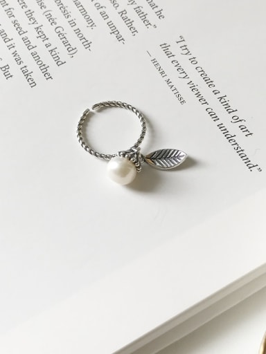 925 Sterling Silver Imitation Pearl  Leaf Vintage  Free Size Midi Ring