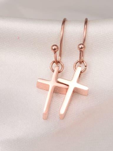 Titanium Cross Minimalist Hook Earring