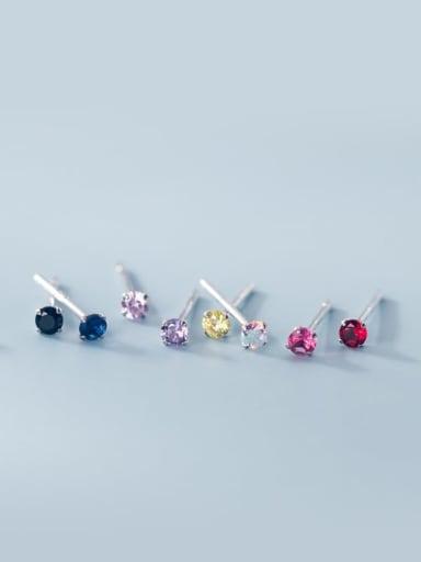 925 Sterling Silver Rhinestone Round Minimalist Stud Earring