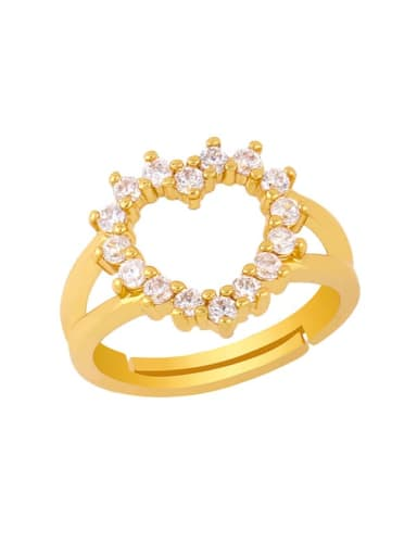 heart-shaped Brass Cubic Zirconia Heart Vintage Band Ring