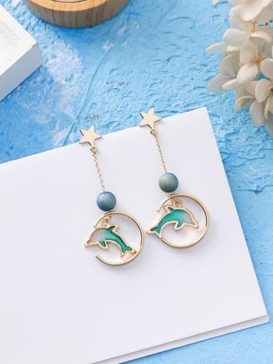 B half round Dolphin Zinc Alloy Multi Color Enamel Star Cute Drop Earring