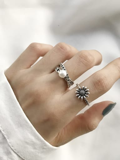 925 Sterling Silver Imitation Pearl Irregular Vintage Solitaire Ring