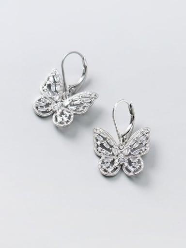 925 Sterling Silver Cubic Zirconia Butterfly Dainty Huggie Earring