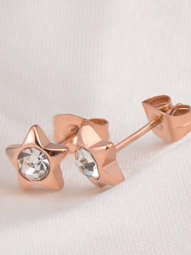 Titanium Rhinestone Star Minimalist Stud Earring