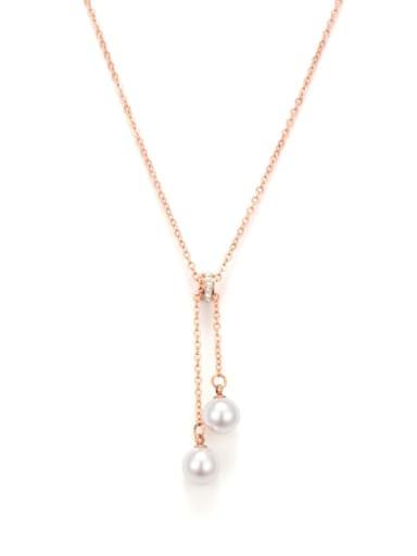 Titanium Imitation Pearl Tassel Minimalist Necklace