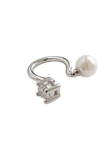 925 Sterling Silver Imitation Pearl White Geometric Minimalist Clip Earring
