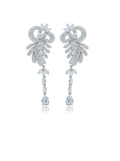 Copper Cubic Zirconia Flower Ethnic Drop Earring