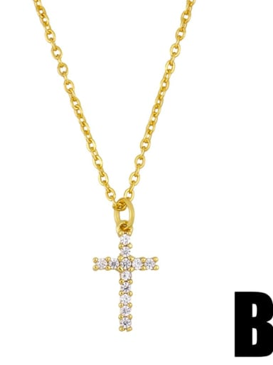B Copper Cubic Zirconia Cross Vintage Regligious Necklace