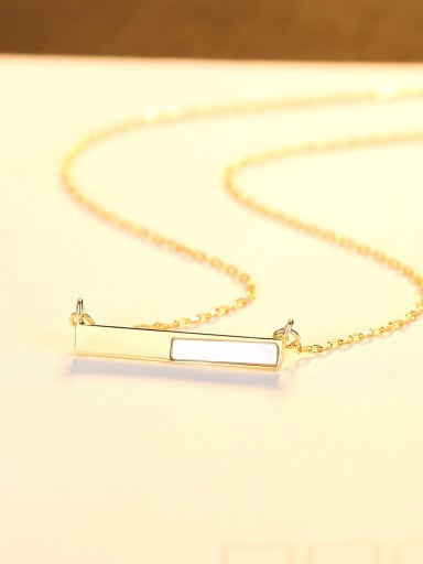 18K gold 14D09 925 Sterling Silver Shell Geometric Minimalist Necklace
