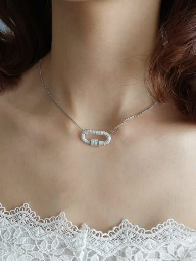 925 Sterling Silver Cubic Zirconia Locket Trend Choker Necklace