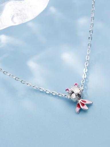 925 Sterling Silver  Cute Diamond Gold Fish Pendant Necklace