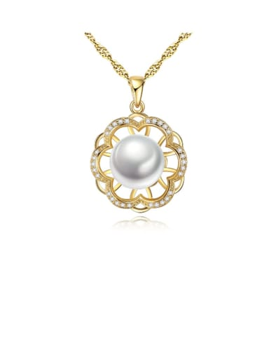 925 Sterling Silver Freshwater Pearl Hollow zircon flower pendant  Necklace