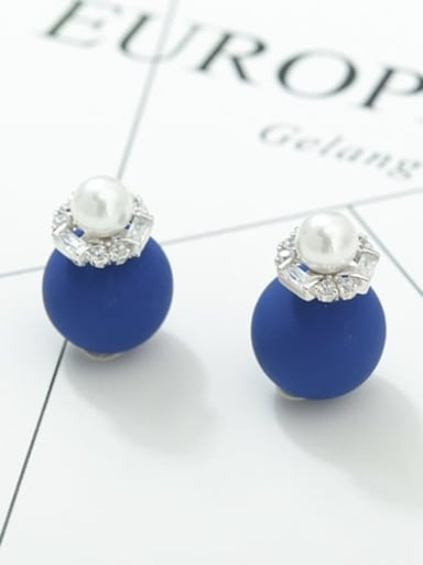 Dark blue white gold t03b18 Copper Cubic Zirconia Round Ball Minimalist Stud Earring