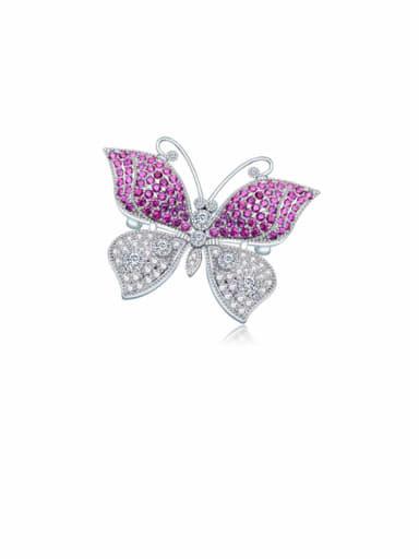 Red t15h10 Copper Cubic Zirconia Butterfly Luxury Brooch
