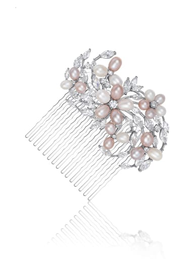 Copper Imitation Pearl Dainty Flower Hair Comb