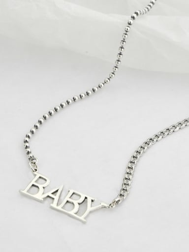 Vintage Sterling Silver With Platinum Plated Simplistic Monogrammed Necklaces