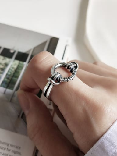 925 Sterling Silver Round Vintage Geeky Ring