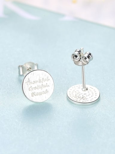 Platinum 16f09 925 Sterling Silver Round  Letter Minimalist Stud Earring