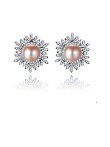 925 Sterling Silver Freshwater Pearl White Flower Trend Stud Earring