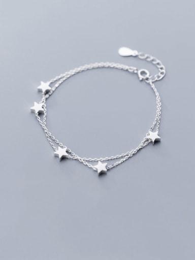 925 Sterling Silver Minimalist  Five-pointed star Strand Bracelet