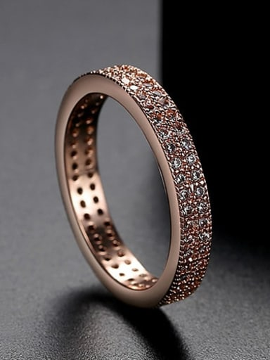 Rose Gold  US 67 Copper Cubic Zirconia Round Minimalist Band Ring