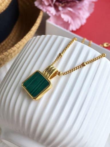 Golden green (bead chain) Copper Malchite Necklace