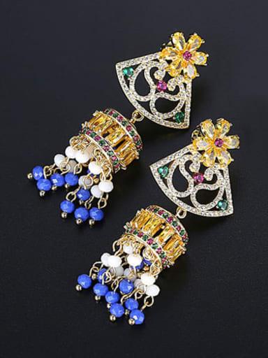 Blue t04c21 Copper Cubic Zirconia  Ethnic Court color tassel Wind chimes Drop Earring