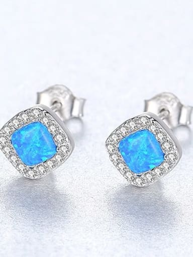 Blue 18h05 925 Sterling Silver Opal Square Minimalist Stud Earring