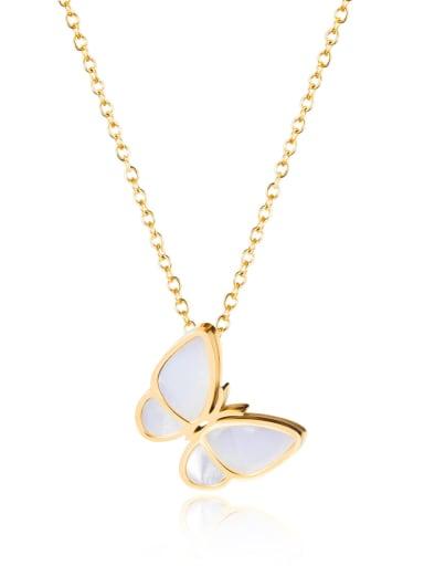 Titanium Shell Butterfly Minimalist Necklace