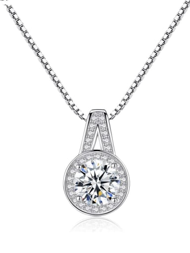 925 Sterling Silver Cubic Zirconia Minimalist Geometric Pendant  Necklace