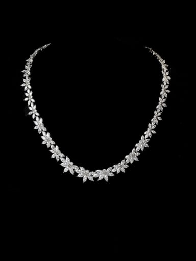 Copper  Luxury  Cubic Zirconia Flower Necklace