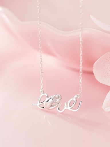 925 Sterling Silver Rhinestone  Letter Minimalist Initials Necklace