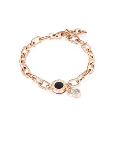 1051 rose gold Titanium Cubic Zirconia Black Enamel Round Minimalist Bracelets