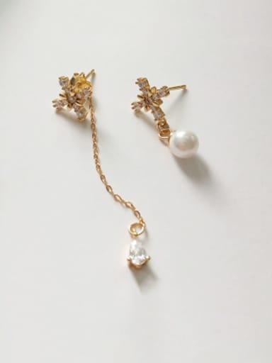 925 pure silver Cubic Zirconia asymmetric cross star awn Earrings