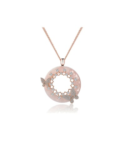 Copper Rhinestone Round Minimalist butterfly Necklace