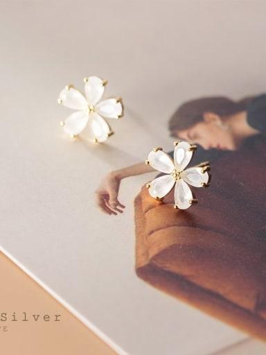 925 Sterling Silver Cubic Zirconia Flower Minimalist Stud Earring