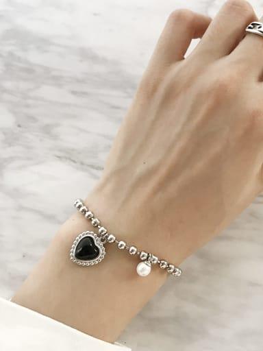 925 Sterling Silver Imitation Pearl Vintage Beaded Bracelet