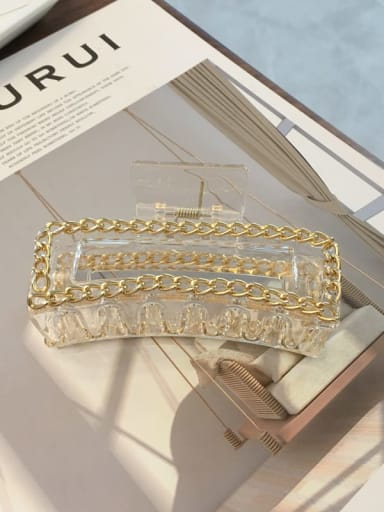 Clear champagne 10cm Cellulose Acetate Alloy  Chain Vintage Geometric Jaw Hair Claw