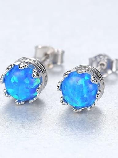 Blue 18f01 925 Sterling Silver Opal Blue Round Minimalist Stud Earring