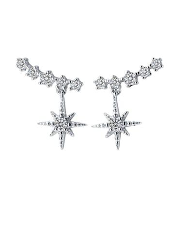 925 Sterling Silver Cubic Zirconia Star Dainty Stud Earring