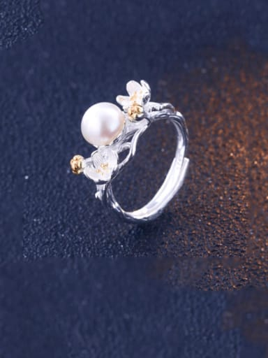 925 Sterling Silver Imitation Pearl Flower Minimalist Band Ring