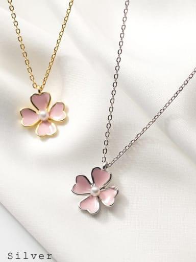 925 Sterling Silver Enamel Flower Minimalist Necklace