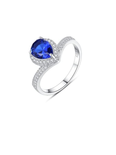 925 Sterling Silver Cubic Zirconia Blue Heart Trend Band Ring