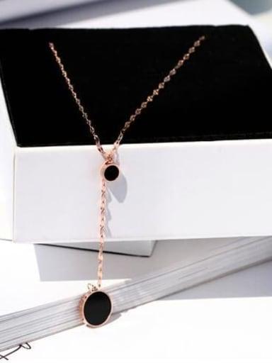 Titanium Enamel  round Tassel Minimalist Necklace