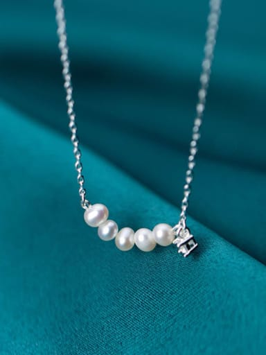 925 Sterling Silver Fashion simple temperament pearl Necklace